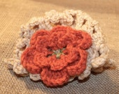 RESERVED FOR ANA O: Lace Hat With Large Flower - Oatmeal, Gold, & Coral