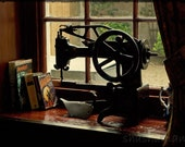 A curious thing - old sewing machine 5x7 photo print, steampunk, window