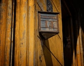 Wawryzynca 14 - Shabby rustic mood, Cracow, Poland, lamp 5x5 fine art photo print, peeling yellow paint, Polish lantern, Polska, Polski