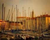 Morning light over the harbour masts Slovenia sunrise 5x7 art photo print