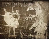 St Petersburg Ballerina poster, Russian ballet dancer 8x12 Fine art photo print of old theatre poster