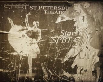 St Petersburg Ballerina poster, Russian ballet dancer 8x12 Fine art photo print of old theatre poster