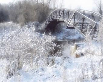 Bridge Into Wonderland  Beautiful Narnia white snow & ice scene 5x7 fine art photography print