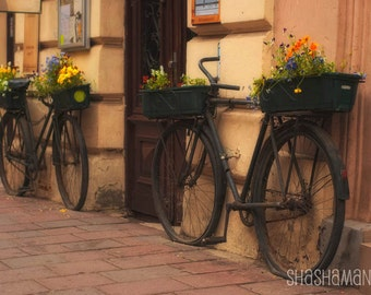 Photo 5x7 art print. Bicycle couple, romantic bikes in Cracow Poland