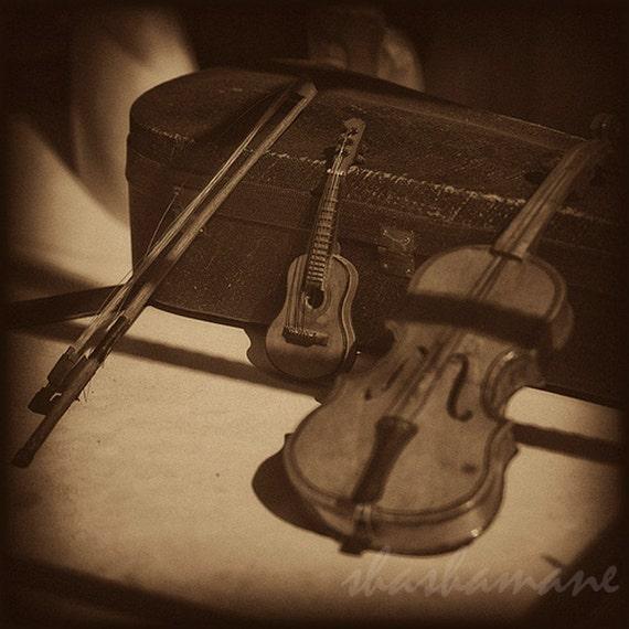 Miniature classics 5x5 print,  tiny violin in sepia, cello and guitar in Poland