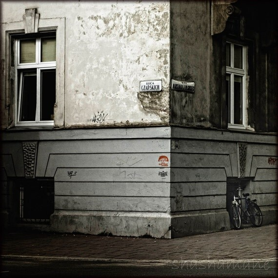 Bicycle on the street corner in Cracow, Poland 8x8 Fine art photo, Polska, Polski