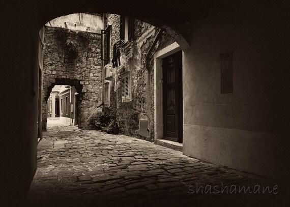 Gothic, spooky arch 5x7 fine art photo, Slovenia Old Piran