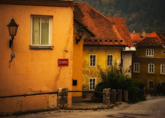 Slovenia in the Fall, Sejmisce. Old town rustic autumn scene 5x7 art photo print