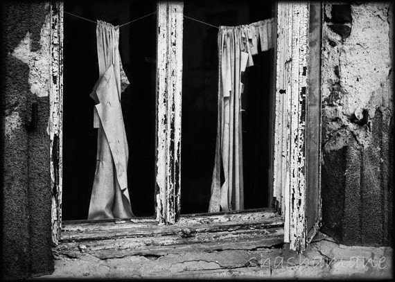 Torn curtain - abandoned places 5x7 fine art photography print B&W