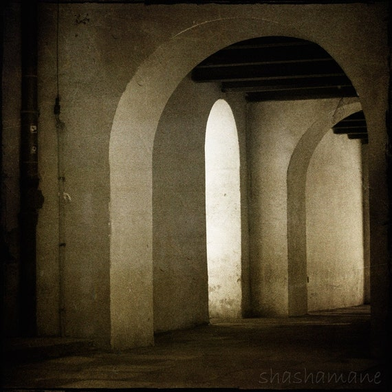Which arch in Heaven, gothic mood, Poland 8x8 art photo, old alley arches. spooky
