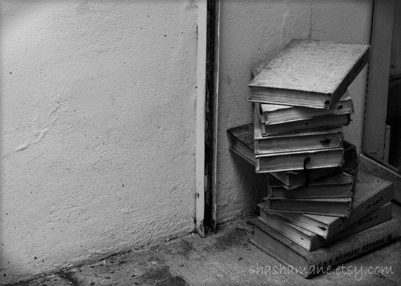 Mystery of the spiral book case 5x7 art b&w photo print