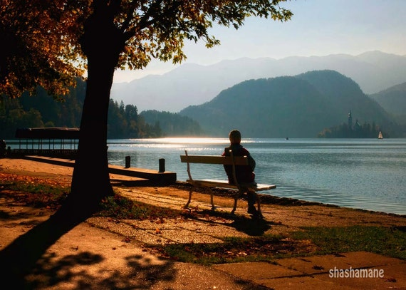 Sunset at the end of a sunny autumn, fall day 10x15 fine art photo, Slovenia, Lake Bled