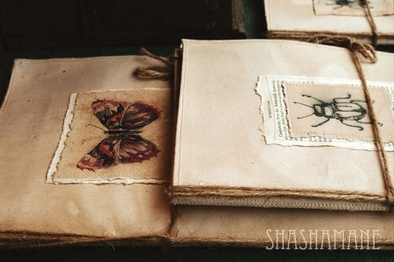 A particular journal 8x12 rustic print, photo, books, butterfly