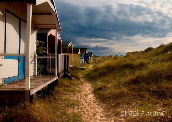 Beach Huts 8x12 photo print, sand dunes, coastal England