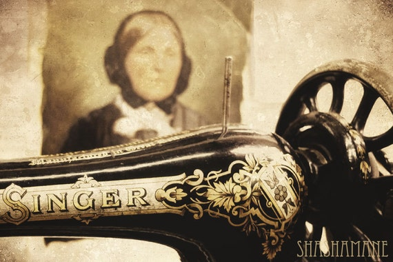 Old things, old ways. Singer sewing machine in sepia 8x12 art photo