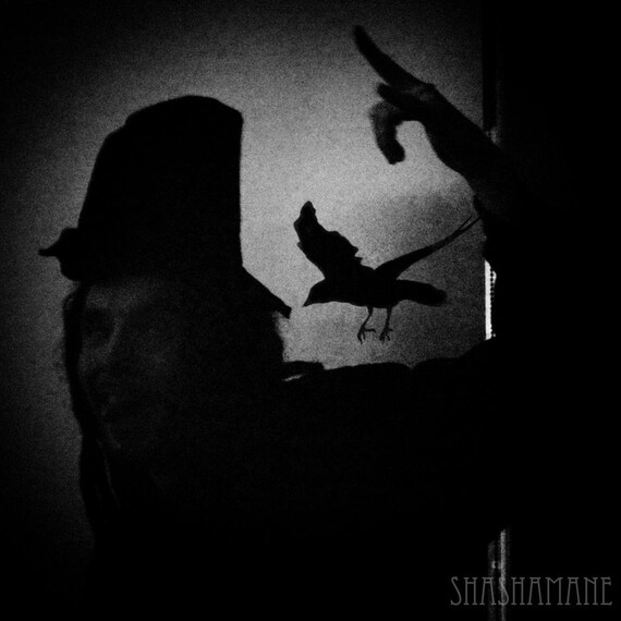 Ebeneezer Crow. Spooky 8x8 art print, gothic, creepy black raven