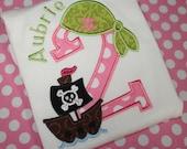 pretty fun girly pink and green pirate birthday shirt