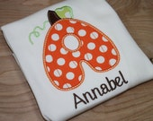 pretty fun pumpkin letter initial shirts-personalized with your childs name, perfect for Halloween, fall carnivals, and dress up