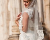 40, 45, 50, 55, or 65 inch single tier finger tip/waist length w/4 inch Alencon lace wedding veil, bridal veil