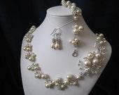 JULIE SET wedding jewelry, bridal jewelry set, pearl necklace, bracelet, earrings, swarovski pearls, rhinestones brooch, wedding necklace
