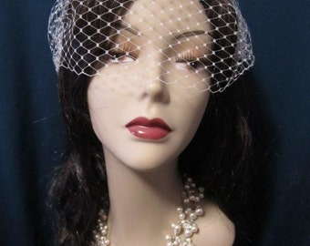 Simple 9 inches bandeau birdcage veil