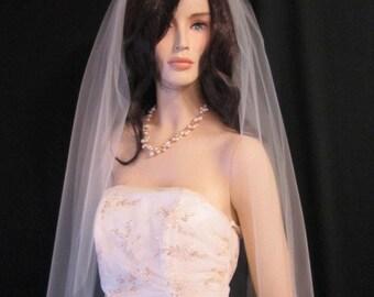 40 inch classic, simple, plain, elegant, single tier fingertip length wedding veil, bridal veil - white, diamond white, light ivory, ivory