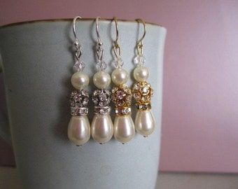 Swarovski pearls, crystals, and rhinestones earrings with sterling silver