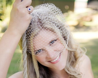 9 inch French/Russian netting birdcage veil, bridal vei,l wedding veil, available in white and ivory