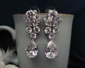 Sparkle filled bridal earrings, wedding earrings, fasion,  CZ cubic zirconia pear/tear drop earrings, bridal jewelry, wedding jewelry