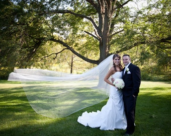 108 inch 2 tier cathedral circular/drop wedding veil, bridal veil with blusher, plain, sheer, simple elegant and classic