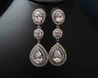 3 stone bridal earrings wedding earrings tear drop/pear cubic zirconia earrings dangle earring, wedding jewelry bridal Jewelry