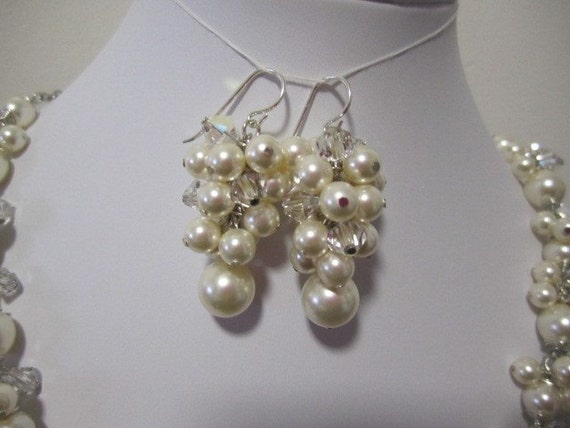 Bridal earring with swarovski pearls, crystal, and sterling silver - - -  READY TO SHIP WITHIN 72 HOURS