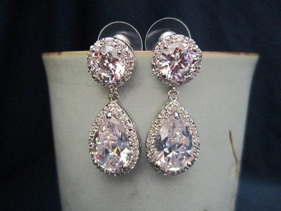Cubic zirconia pear/tear drop and dangely earrings, bridal jewelry, wedding jewelry