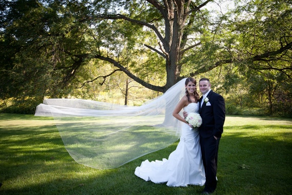 108 inches - The Chelsea veil - 2 tier cathedral circular/drop wedding veil, bridal veil with blusher