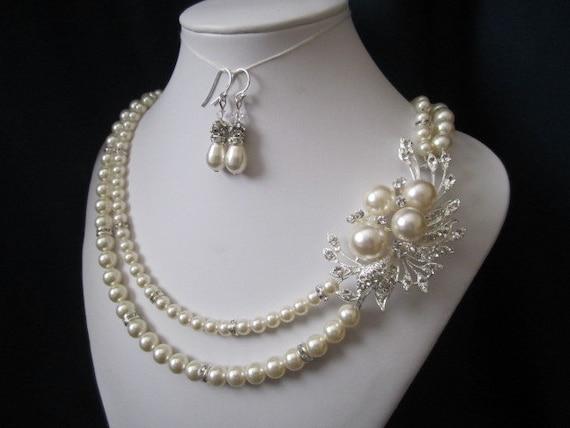 VANESSA double strand wedding jewelry bridal jewelry pearl necklace earrings swarovski pearls crystals rhinestones brooch wedding necklace