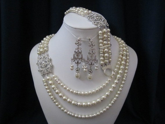 ATHENA SET, triple strand pearl necklace, bracelet, earrings, swarovski pearls, rhinestone brooch, wedding jewelry, bridal jewelry