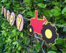 Red Tractor Birthday Banner - MADE TO ORDER
