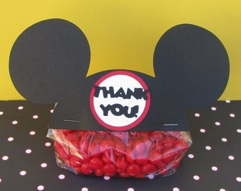 Mickey Ears Treat & Party Favor Thank You Goodie Bags Toppers Set of 12 - MADE TO ORDER