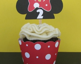 Minnie Ears Hat Cupcake Toppers - Set of 6 - MADE TO ORDER
