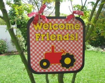 Red Tractor Party Door Sign - Welcome Friends - MADE TO ORDER