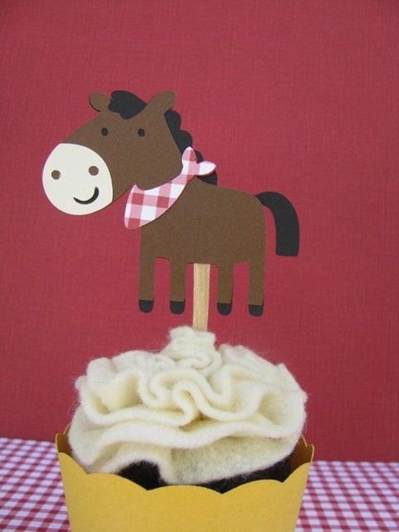Horses on a Farm Cupcake Toppers Set of 4 - MADE TO ORDER