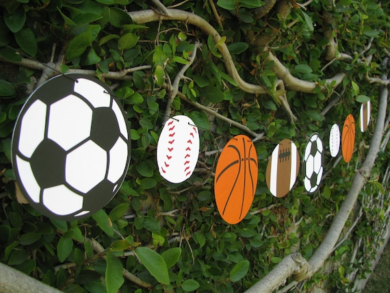 Sports Ball Garland Bunting, Sports Baby Shower, Sports Photo Prop - MADE TO ORDER