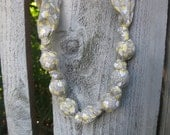 Gray, Yellow, and White-Mommy and Baby Teething/Nursing Necklace