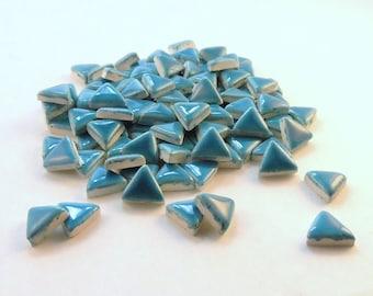 """3/4"""" Triangle mosaic tiles, Handmade ceramics - Blue"""
