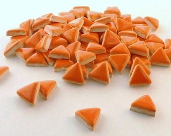 "3/4"" Orange tile, Ceramic mosaic tiles - Handmade"