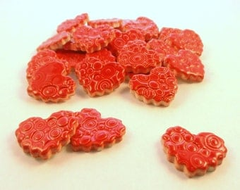 Red hearts, Mosaic tile - Ceramics