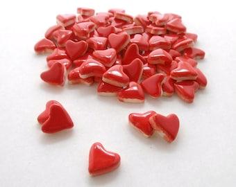 Mosaic Tiles-Red heart tiles, Small ceramic mosaic tiles - Handmade