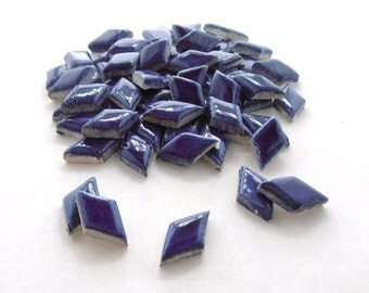 Blue tiles, Handmade diamonds - Ceramic mosaic tiles