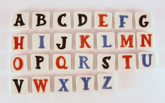 Custom order-Mosaic tile-MINI ALPHABET tiles to mosaic ceramic tiles, handmade