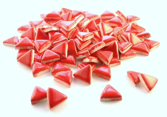 "3/4"" red mosaic triangle tiles, Handmade ceramics"